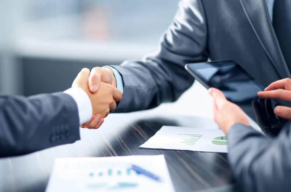 Reaching a deal in business, Two men